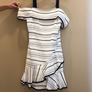 Lucy Paris white dress with navy blue stripes
